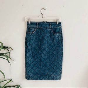 + JCREW // QUILTED DENIM PENCIL SKIRT +